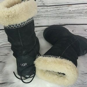 UGG Ultimate cuff suede boots shearling fur sz 6